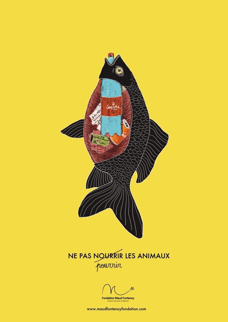 Affiche poisson pourri par la pollution